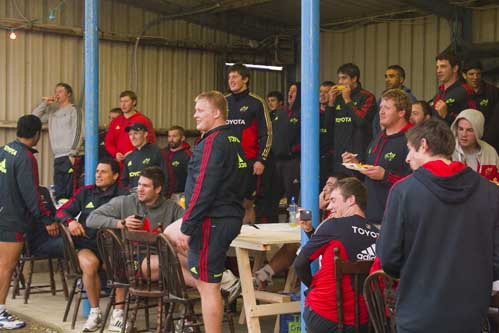 The squad take cover under the shelter at Tralee RFC