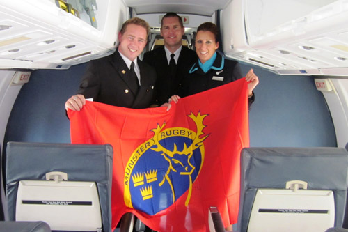 Aer Arann crew Michael Crowley, Captain Ryan O'Neill and Mel Fitzgerald show their support at Cork Airport
