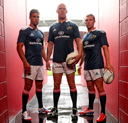 Conor Murray, Paul O'Connell and Keith Earls in the adidas Munster alternate kit for season 2013/14