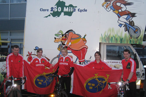 Mike, Emer, Aine, Melissa and Paul show their colours in Clare after cycling 120 miles of the Clare 250 mile cycle.