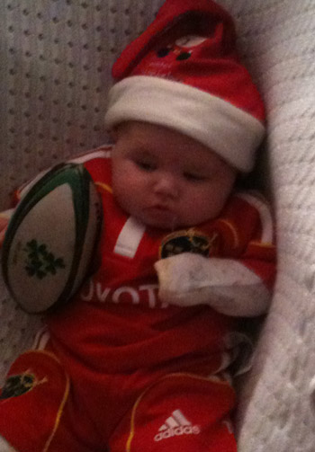 Baby Freya from Limerick tired out from all the Munster support
