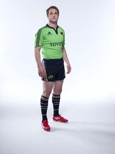 Johne Murphy in the new adidas Munster Rugby training kit for season 2011/12, now available to pre-order in the Munster Rugby Store