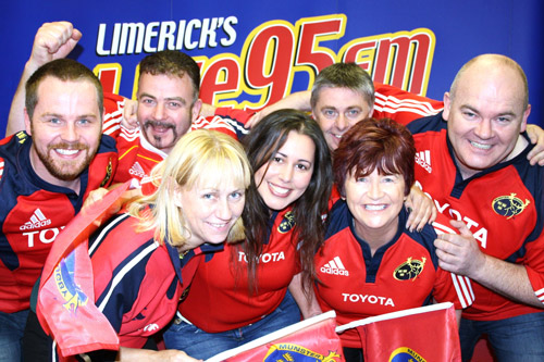 Limerick Live 95 staff show their support for Munster
