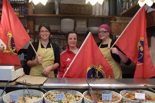 Mary O'Donnell from Macroom with colleagues at The Sandwich Stall in the English Market in Cork City