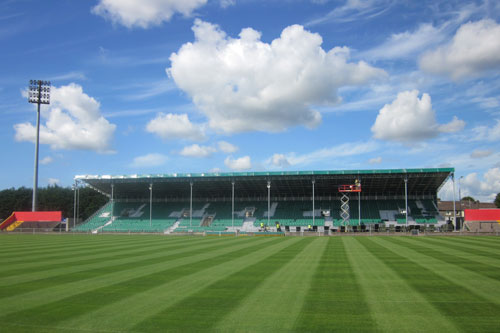 The stand getting closer to completion in time for the first home game of the season