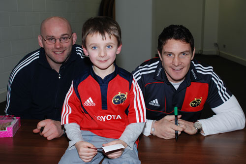 Hanging out with John Hayes and David Wallace at the Junior Club Christmas Party in Thomond Park