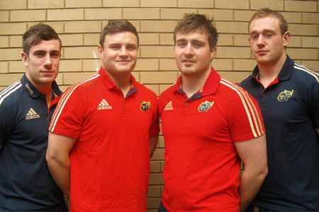 Munster players JJ Hanrahan, James Rael, Niall Scannell and Shane Buckley