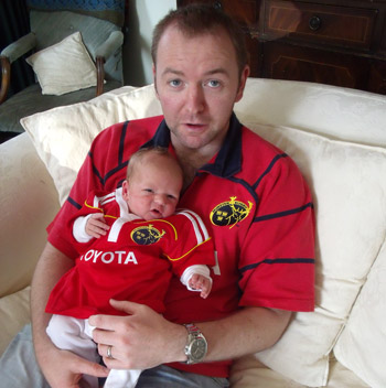 Peter Hatton in Dublin with his two week old son