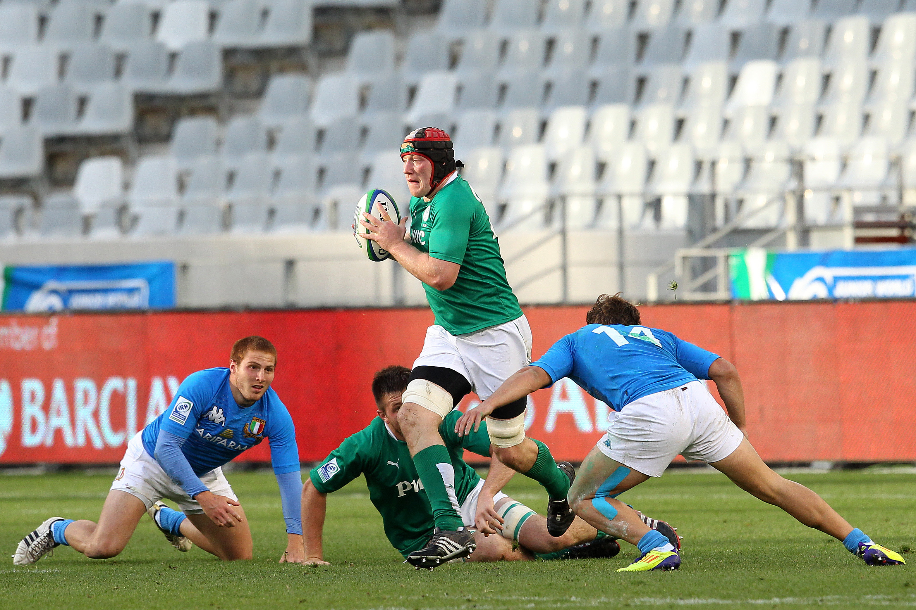 Munster's Shane Buckley breaks through the Italian defence