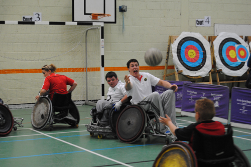 Ian Nagle and Nicola Scully take part in a game of Wheelchair Rugby