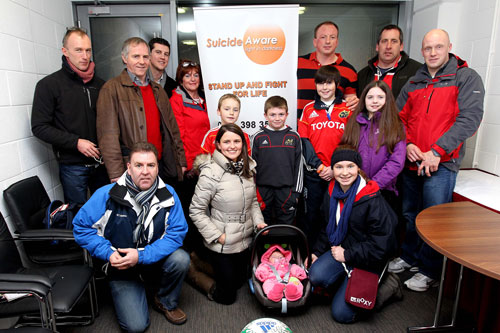 Suicide Aware representatives pictured with Mick O'Driscoll