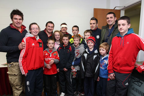 TLC4CF representatives pictured with Billy Holland, Damien Varley, Scott Deasy, Niall Ronan and Alan Quinlan