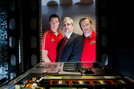 Anthony O'Mara, Senior VP, Trend Micro EMEA with Munster's Ian Nagle and James Coughlan