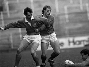 From his playing days, former Ireland Head Coach Eddie O'Sullivan lines out for Munster against Leinster in a 1986 interprovincial.