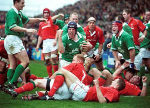 Scoring a try against Wales at the old Lansdowne Road on his international debut in the 2002 6 Nations.