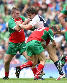 In July 2010 Johnny featured in the O2 Challenge at the Aviva Stadium where two composite teams selected of young players from the Irish provinces, Leinster-Ulster and Connacht-Munster, went head to head. Here Johnny tackles future Irish international Craig Gilroy.