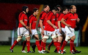 BJ makes his first appearance with his new Munster teammates against Scarlets in Cork in September 2011.