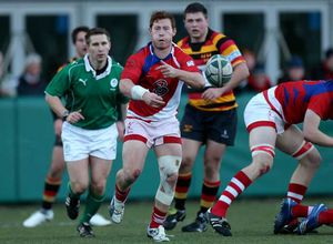Cathal Sheridan in AIL action with UL Bohs against Lansdowne.