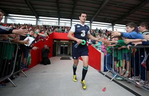 Johnny Sexton makes his way on to the pitch at Irish Independent Park