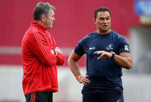 Head Coaches Anthony Foley and Pat Lam chat before kick-off.