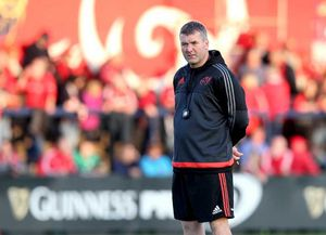 Head Coach Anthony Foley during the pre-match warm up.