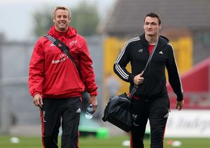 Mark Chisholm arrives for his first game at Thomond Park alongside Shane Monahan.