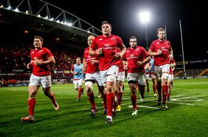 With the warm-up done captain CJ Stander leads the team into the dressing room prior to kick-off.