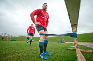 Some pre-training stretches for CJ Stander.