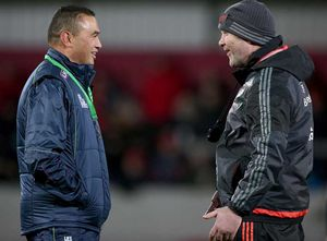 Head Coaches Pat Lam and Anthony Foley chat before the game.
