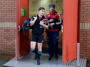 Playmakers Ian Keatley and Tyler Bleyendaal arrive at the UL Bowl for the first pitch session of the week.