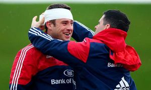 Physio Shea McAleer tapes up CJ Stander prior to training.