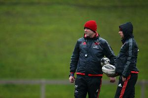 Head and Assistant coaches Anthony Foley and Brian Walsh chat at training on Tuesday.