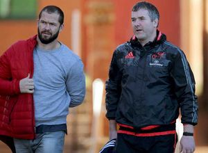 Head Coach Anthony Foley arrives at training alongside Andy Farrell. The incoming Ireland defensive coach has joined the province in a temporary advisory role.