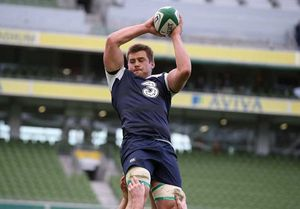 CJ Stander claims the lineout during training at the Aviva Stadium.