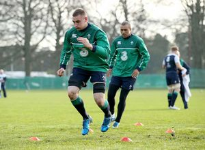 Tommy O'Donnell and Simon Zebo test out their footwork in training at Carton House.