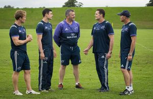 The coaching staff from left to right - Scrum Coach Jerry Flannery, Technical Coach Felix Jones, Head Coach Anthony Foley, Director of Rugby Rassie Erasmus and Defence Coach Jacques Nienaber