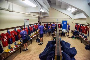 The Munster squad arrive in the home dressing room at the Waterford RSC.