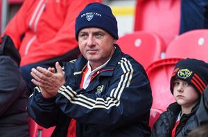 Some of the travelling support for Munster at Parc y Scarlets.