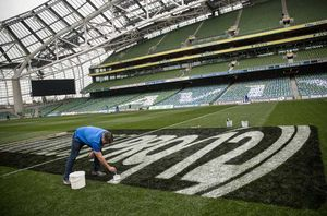 Final preparations to the Aviva pitch before kick-off.