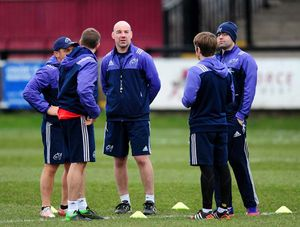 The Munster A Coaching team before the match