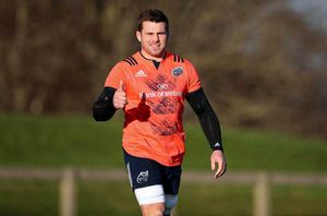 Nice to see you too CJ! The Munster and Ireland back row arrives for training.