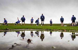 Wet conditions greeted the squad as they took to the training field at UL on Monday.