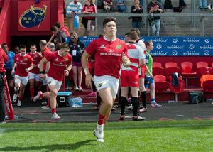 Munster 7s captain Alex Wootton leads his side out at Thomond Park.