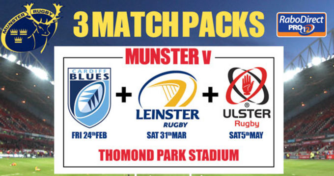 3 Match Pack Tickets Including Leinster Available