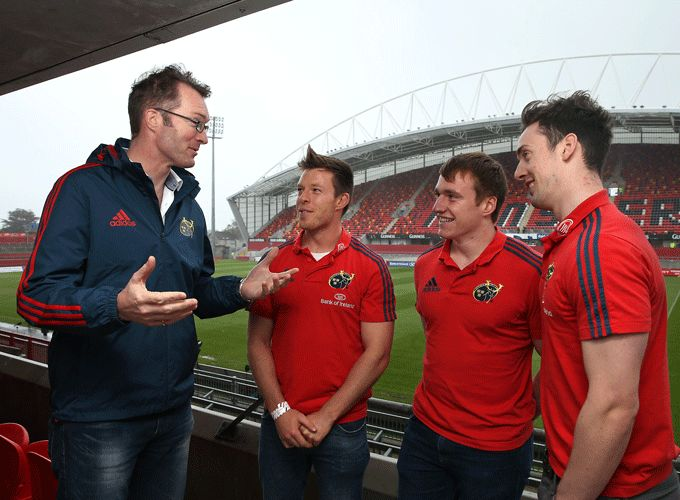 Greencore CEO Patrick Coveney with the Munster Academy's Johnny Holland, Rory Scannell and Darren Sweetnam