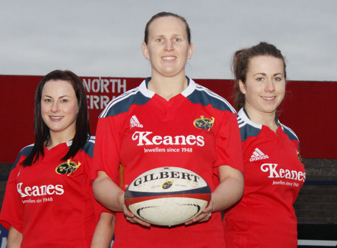 Munster squad members Aoife Crowley, Laura Guest and Zoe Grattage pictured at Musgrave Park
