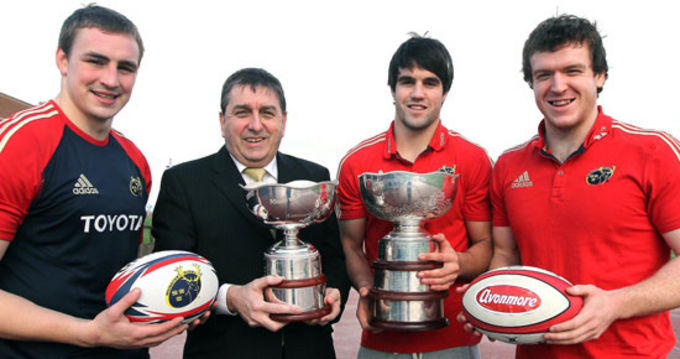 Kieran O'Connor, Avonmore, pictured with Munster players Tommy O'Donnell, Conor Murray and Mike Sherry