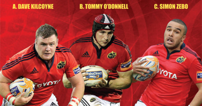 Dave Kilcoyne, Tommy O'Donnell and Simon Zebo