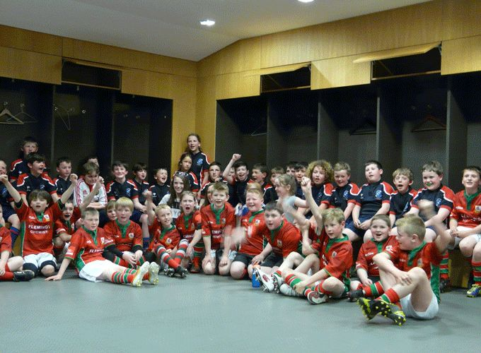 Bantry Bay Under 10's pictured with Larne RFC youths at the Aviva Stadium