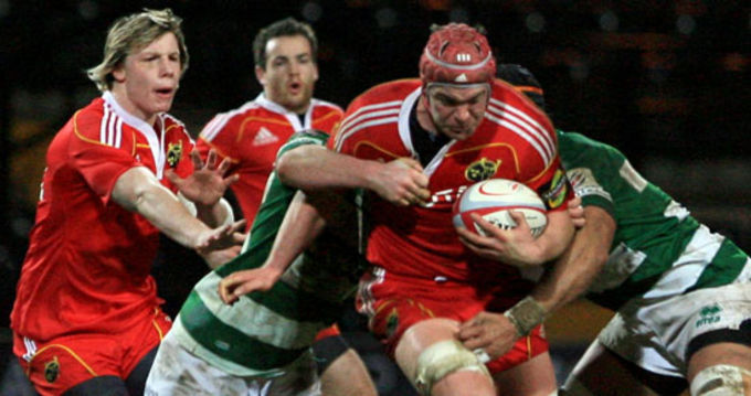 Munster's British & Irish Cup captain Billy Holland in action with Danny Barnes and Scott Deasy against Nottingham